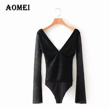 AOMEI Female Pleated Patchwork V Neck Romper Combinaison Short femme Pure Black