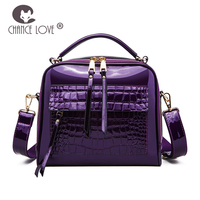 Chance Love New 2018 fashion crocodile handbag bright leather bag box package trend luxury party Patent Leather