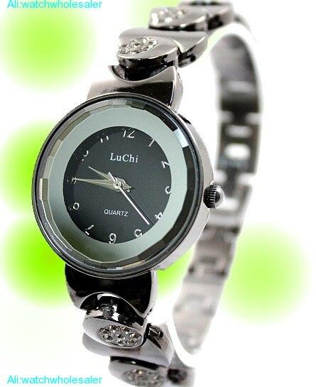 Популярные наручные часы Gunmetal Группа круглое зеркало стекло Циферблат Дамы для женщин Мода кварцевые браслет часы с кристаллами FW779B