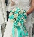 2016 Azul y Blanco de La Boda Ramo Hecho A Mano Flor Artificial Rose buque casamento Ramo de Novia para La Boda Decoración