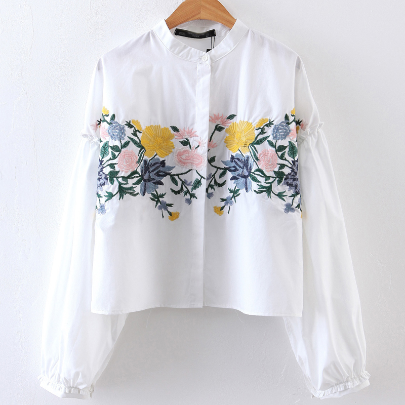 2017 Spring Women Floral Embroidery Blouse Cotton White Casual Shirts Long Sleeves Stand Autumn Girl Tops Popular Loose Style