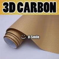 3D золотистое Углеродное Волокно Винил Автомобиля DIY обёрточная бумага простыни Roll плёнки стикеры Наклейка выпуска воздуха автомобиля ping Ра