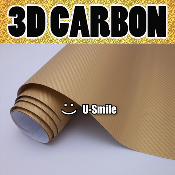 3D Gold Carbon Fiber Vinyl Car DIY Wrap Sheet Roll Film Sticker Decal Air Release Car Wrapping Size:1.52X30M/Roll