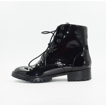 Fashion Black Patent Leather Lace Up Women Ankle Boots Classical Square Heels Handsome Woman Motorcycle Boots tie up patent leather eyelets ankle boots