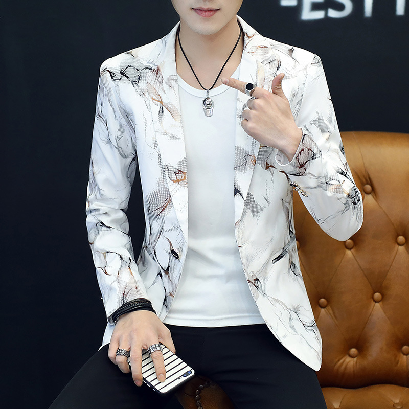 Printed In The Spring Of The New Men's Blazer Cultivate One's Morality Trend Fashion Suits