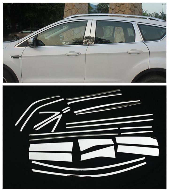FOR FORD ESCAPE KUGA 2013 2014 2015 2016 2017 2018 CHROME WINDOW SILL LINING FRAME TRIM COVER MOLDING GARNISH PILLAR POST BEZEL