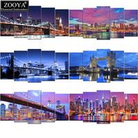 Zhui Star 5d Diy Diamond Embroidery Night City Scenic Diamond Painting Cross Stitch Full Drill Rhinestone