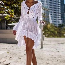 цена на 2019 Women Beachwear Sexy White Crochet Tunic Summer Dresses Flare Sleeve Hollow Out Beach Dresses
