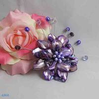 Unique Pearls jewellery Store,Handmade Natural Freshwate Pearl Real Shell Crystal Beads Brooch,Purple Color Flower Brooches
