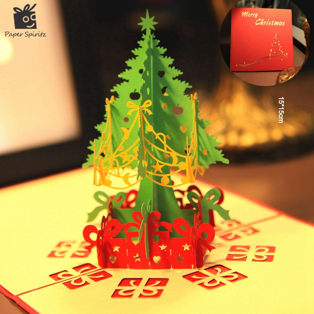 Merry Christmas Tree Vintage 3D laser cut pop up paper handmade custom greeting cards Christmas gifts souvenirs postcards 1 design laser cut white elegant pattern west cowboy style vintage wedding invitations card kit blank paper printing invitation