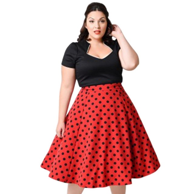 229d09d7d245e Wipalo Plus Size Polka Dot Vintage Dress Women Short Sleeves Square Collar Pin  Up Dress Casual Summer Party Dresses Vestidos Red