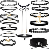 HOT Brand 15 Pieces Choker Necklace Set Stretch Velvet Classic Gothic Tattoo Lace Choker