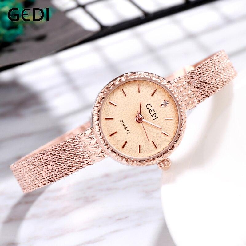 GEDI Women Watch Top Brand Luxury 2019 Rose Gold Woman Ladies Women's Bracelet Watch Wristwatch reloj mujer