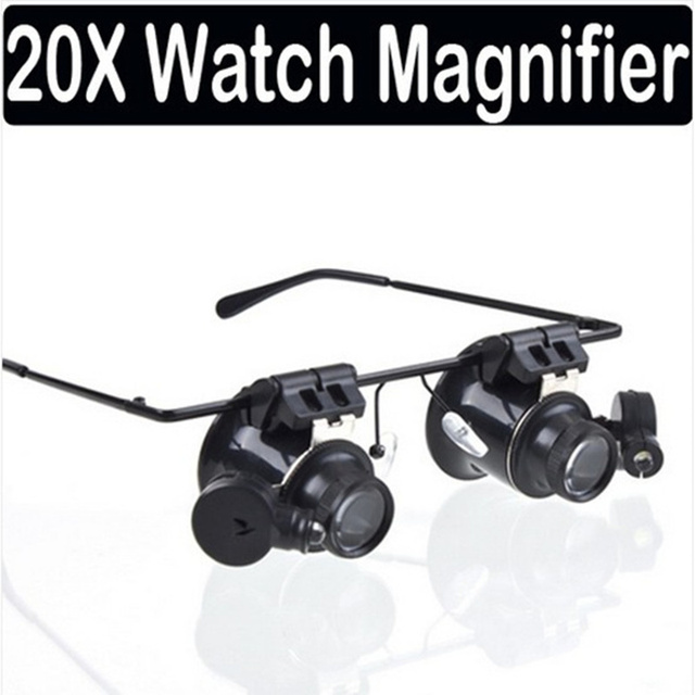 be76ef914bf2 High quality Loupe Lens magnifier with led liglht 20x magnifying glass for  watchmaker repair watch Jewelry tools