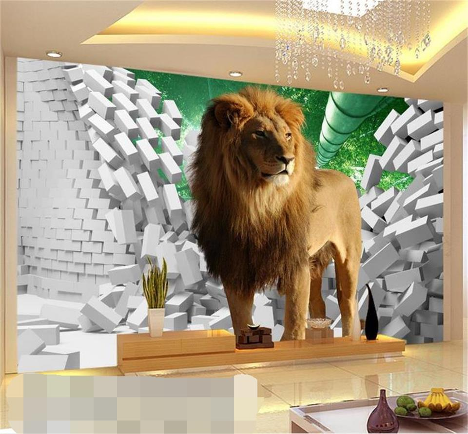 custom mural photo 3d wallpaper kids room lion brick wall bamboo 3d painting sofa TV background non-woven wallpaper for wall 3d