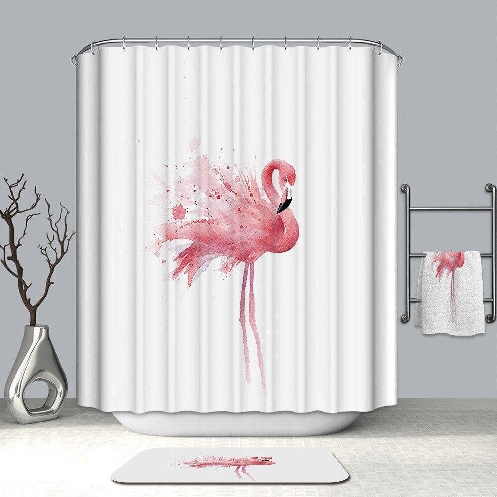 Image 5 - VOZRO Shower Curtain Bathroom Waterproof Polyester Flamingo Africa Bape Douchegordijn Pascoa Cortina Ducha Cactus Youtube London-in Shower Curtains from Home & Garden