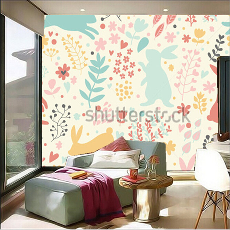 The custom 3D murals, Lovely rabbits in hearts and flowers,living room sofa TV wall children bedroom wall paper the custom 3d murals the new york times center building street black and white living room sofa tv wall bedroom wall paper