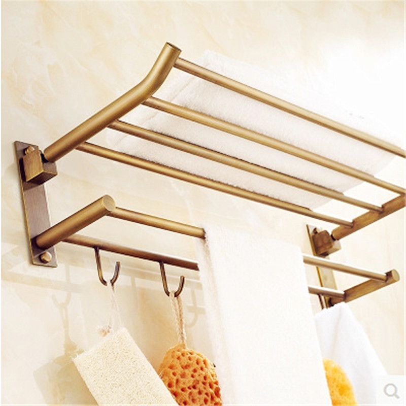 European antique bathroom towel rack brass towel shelf with 5 hooks gold wall-mounted towel holder bathroom hardware accessories luxury european brass bathroom accessories bath shower towel racks shelf towel bar soap dishes paper holder cloth hooks hardware page 5