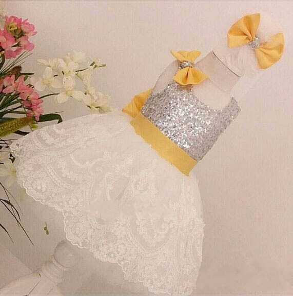 Bling Sequins Ivory Tulle Knee-Length short Lace flower girl dresses infant baby 1 year birthday party occasion formal gown