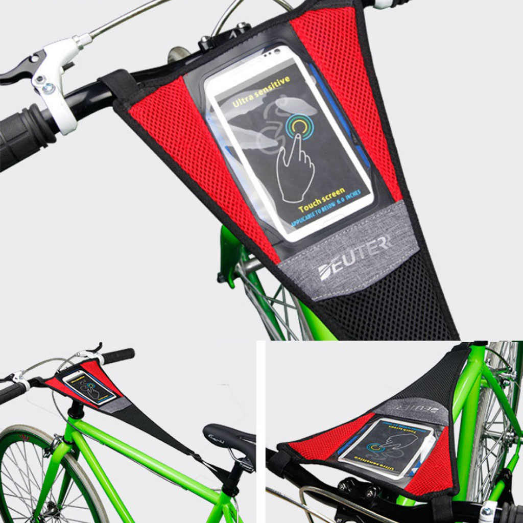 Indoor Bike Trainer Frame Sweat Cover Guard Net Catcher Absorbs Sweat Strap with Phone Holder Black Red 58 x 23cm