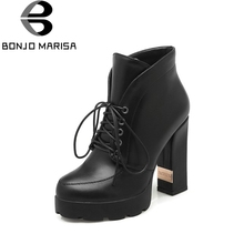 BONJOMARISA 2019 Fashion Spring Autum Ankle Boots Lace-Up Platform Super High Square Heel Woman Shoes Large Size 33-43