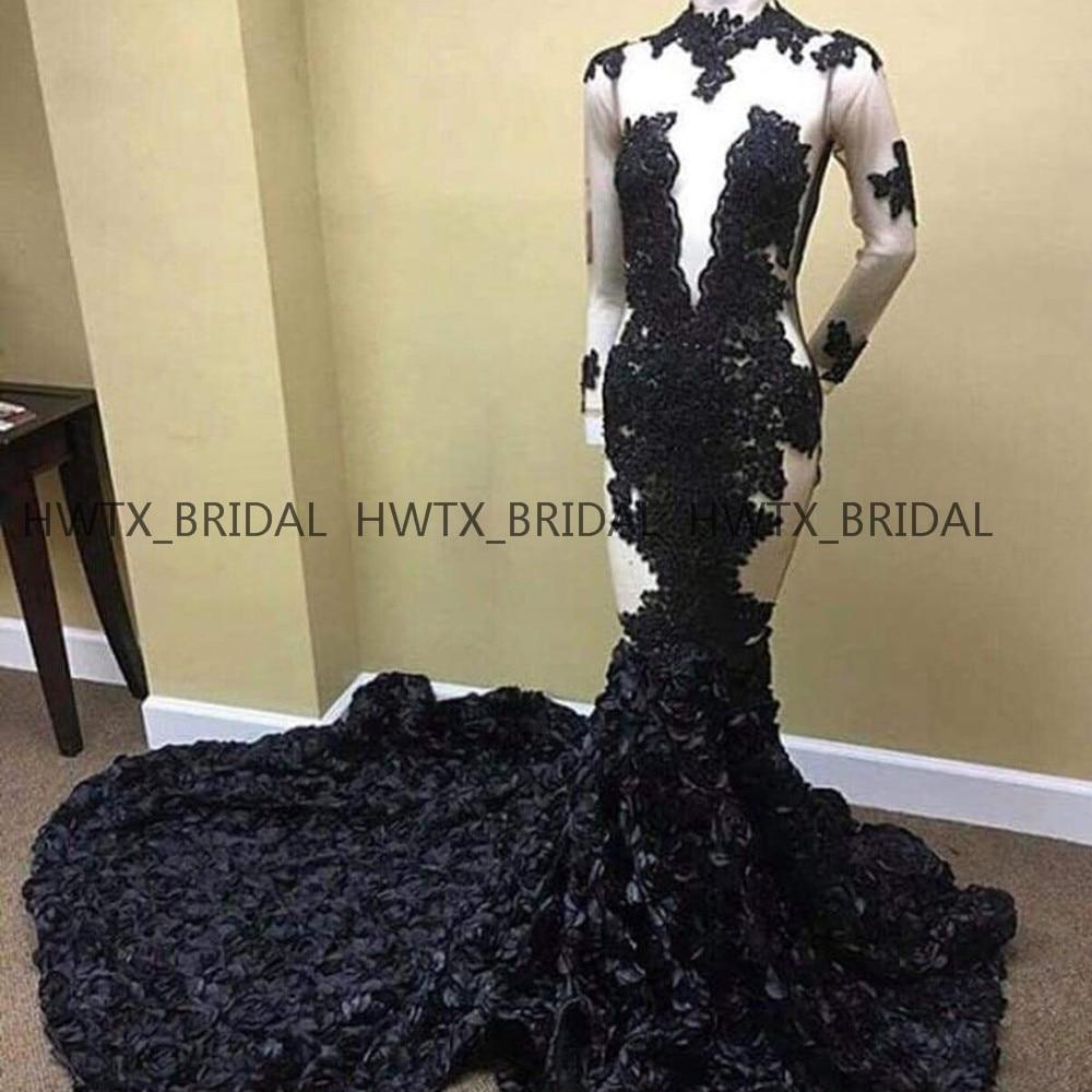 Luxury 3D Flowers Evening Dress 2019 Nude Long Sleeve High Neck Sexy Mermaid Long Prom Dresses Vestidos de fiesta de noche 2K19