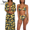 3 Pcs Set Bikinis Women 2017 Push Up Sexy Halter Brazilian Bikini Swimwear Women High Waist