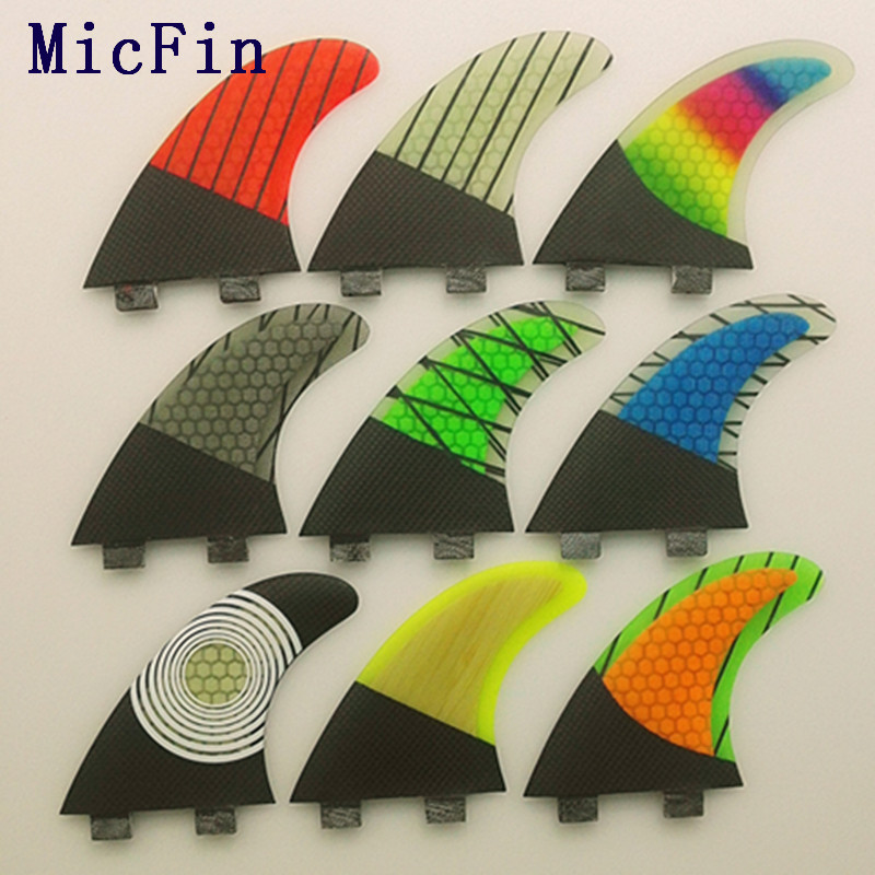 цены  Micfin FCS G5 Fin Surf fiberglass Honeycomb carbon Fins Quilhas tri/set Medium size pranchas de surf fcs surfing fins