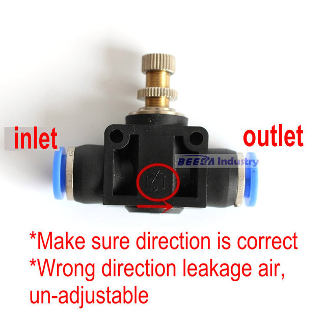 US $0 75 |Adjustable air pipe fittings PA pipe valve air flow control valve  speed regulating valve throttle LSA8 / 4/6/10 / 12mm-in Pneumatic Parts