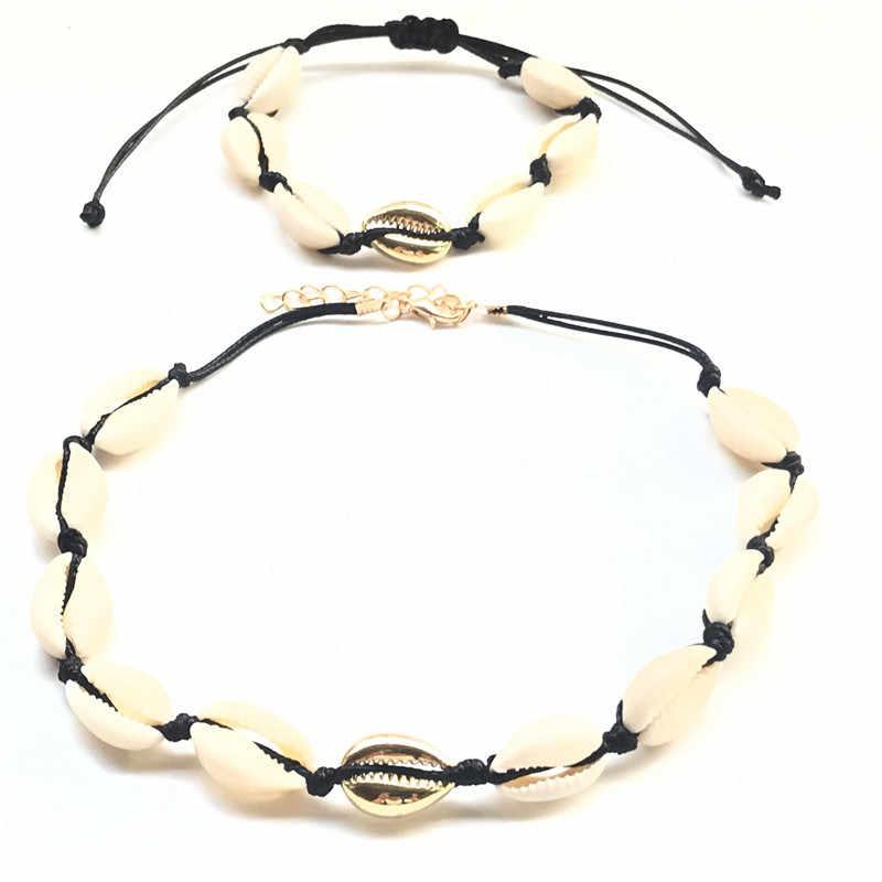 2019 Fashion Gold Cowrie Shell Choker Necklace for Women Girl Bohemian Seashell Beach Summer Jewelry Gift