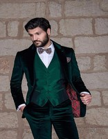 New Green Gentleman Wear Groom Two Buttons Classic Design Men's Dinner Party Prom Suits 2017(Jacket+pants+vest)