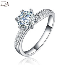 chic AAA rhinestone ring for women vintage 925 sterling silver wedding engagement rings fashion jewelry Bague bijoux gifts dd061
