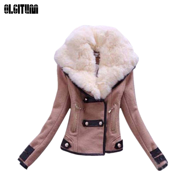 dcd0733938c0 2019 Fashion Winter Women's Warm Trench Coat Jackets Women's Jackets Big Fur  Collar Famale Double-breasted Wool Coats Overcoat