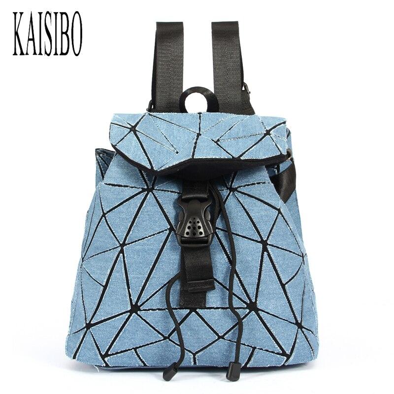 KAISIBO Mochilas Mujer 2018 Denim Women Backpacks Geometry Drawstring School Bags For Teenage Girls Back Pack Women Shoulder Bag