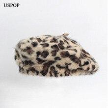 USPOP 2019 women berets fashion rabbit hair beret female leopard print thick warm winter hat