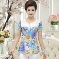 Camisa de gasa manga corta tamaño grande mujeres atan Patchwork impresos Top moda elegantes de mediana edad mamá la grasa de flores ropa
