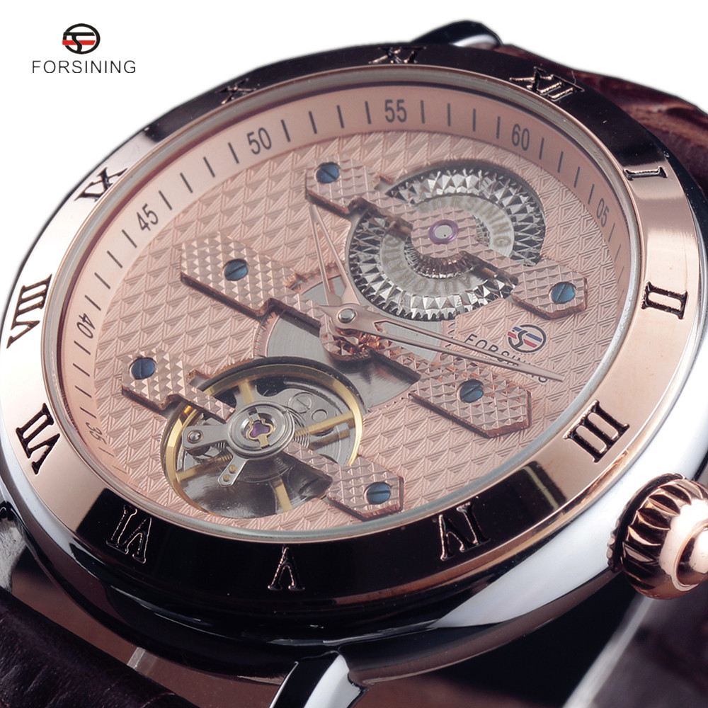 2017 FORSINING New Series Rome Flywheel Automatic Mechanical Watches Men Luxury Famous Top Brand Dress Leather Wrist Watch rome top 10