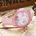 Miss Keke Cartoon Crystal Watches Women Girls 3D Clay Bowknot Wristwatch Children Student Pink Leather Watch 847 reloj de cuarzo