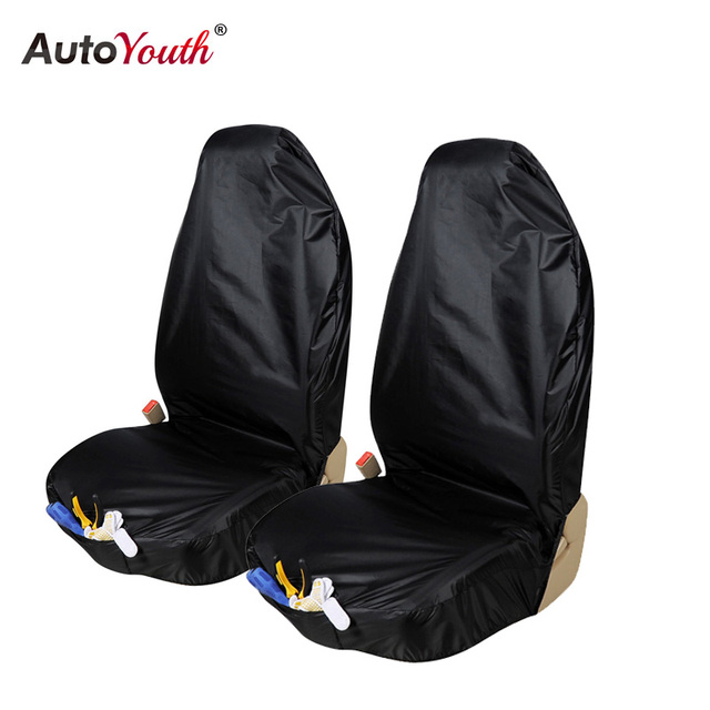 AUTOYOUTH Waterproof Car Seat Cover 2PCS Front Protector With Organizer Bag Universal Interior