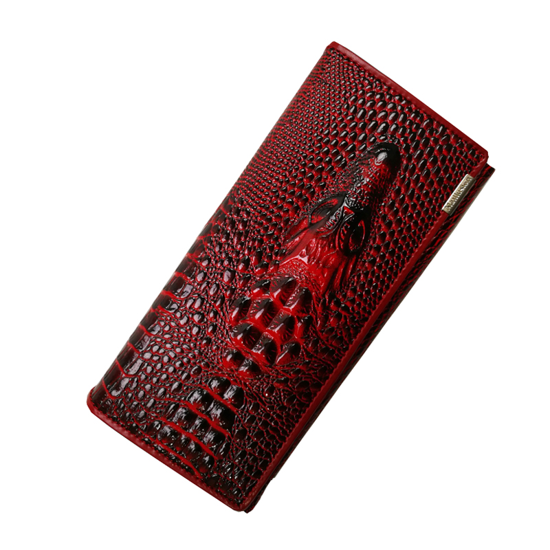 Womens Wallets And Purses Genuine Leather 3D Crocodile Phone Female Purse Long Coin Purses Holders Ladies Hasp Clutch Wallets stock promotion genuine leather wallet female purse long coin purses holder ladies wallet hasp fashion womens wallets and purses