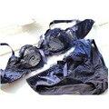 Sutiã das mulheres & Sets Breve Flor Rendas Gaze Bordado Ultra-fina e Transparente Senhoras Sexy Sutiã Azul Marinho Preto Mulheres Conjunto de roupa interior