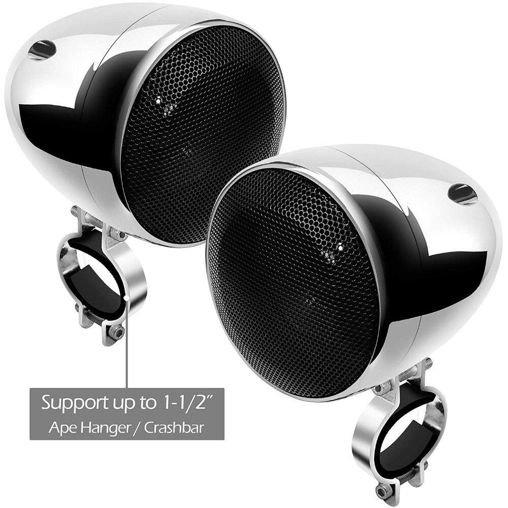 Ensemble Audio moto aijump M150 avec amplificateur stéréo 2ch, haut-parleurs étanches 4 pouces, Bluetooth, Radio FM, AUX MP3 (Chrome) - 6