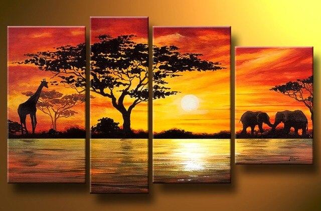 Home Decoration African Elephant Painting Wall Decor Giraffe Sunset ...