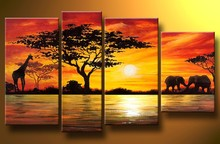 Home Decoration African Elephant Painting Wall Decor Giraffe Sunset Landscape Canvas Painting Multi Panel Handpainted 4pcs Set