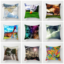 Fuwatacchi Scenic Animal Cushion Cover Colorful Printed Pillow Case For Chair Sofa Home Room Decoration Pillowcases 45cm*45cm