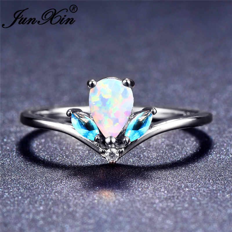 JUNXIN бренд океан синий/фиолетовый/Белый огненный опал кольца для женщин 925 серебро каплевидный Радужный камень Корона кольцо
