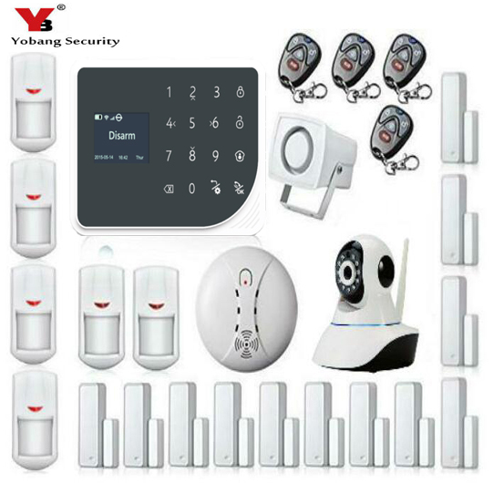 YoBang Security WIFI GSM Home Security font b Alarm b font System IOS Android APP Controls