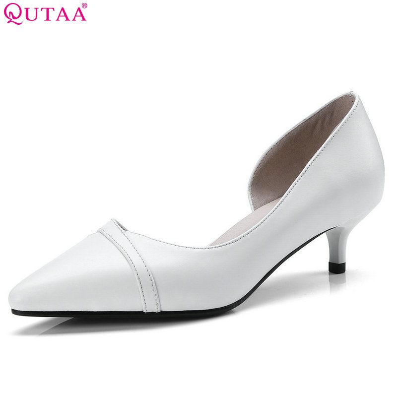QUTAA 2018 Women Pumps Thin High Heel Women Shoes Pointed Toe Fashion Genuine Leather +pu All Match Ladies Pumps Size 34-41 appella часы appella 4403 03 0 1 01 коллекция classic