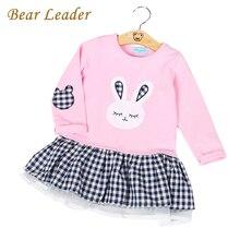 Bear leader девушки платье 2017 весна случайный стиль девочка одежда С Длинным Рукавом Мультфильм Кролик Печати Плед Платье для Детей одежда(China (Mainland))