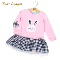 Bear Leade Winter Girls Dress 2016Winter Girls Clothes Children Clothing Princess Dress Cartoon White Swan Printing